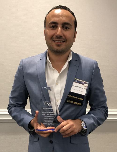 Clinical TMS Society President's Award 2018 - Dr Mohamed Abdelghani